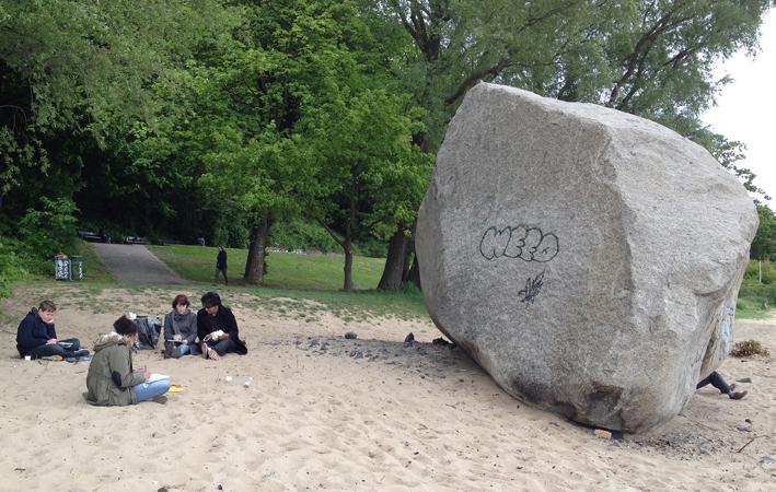 Zeichnen am Elbstrand, Alter Schwede, Hamburg