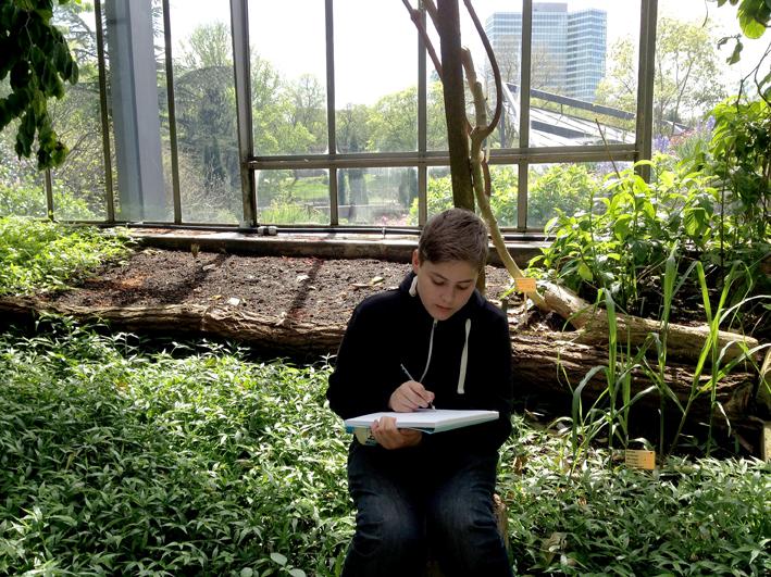 Zeichnen im Schaugewächshaus Planten und Blomen, Hamburg